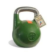 Гиря чемпионская Titan 26 кг (Зеленая с оранжевой полосой) фото