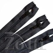 Молния пластиковая, черная, с бегунком №74 - 20 см фото