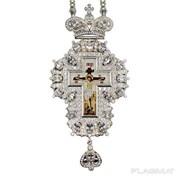 Крест из ювелирного сплава в серебрении со вставками принтом и цепью 2.10.0216л-2-1л фото