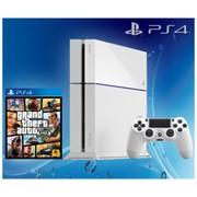 Игровая приставка Sony PlayStation 4 500Gb (Glacier White) + GTA 5 (Русские субтитры) фото