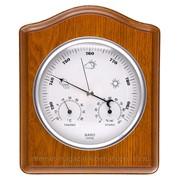Метеостанция барометр, термометр, гигрометр, высота - 20см, фигурный деревянный корпус фото