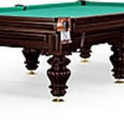 Бильярдный стол для русского бильярда Turin 9ф (черный орех, 6 ног, плита 38мм) фото