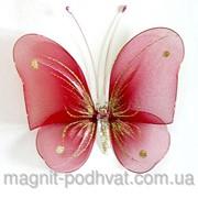Бабочка декоративная для штор и тюлей большая красная, размер: 20*18 см фурнитура фото