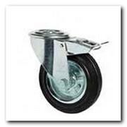 Колесо поворотное с отверстием и тормозом 3106-N-080-R резиновое фото