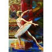 Картина балет, балерина маслом в стиле импрессионизм на холсте фото