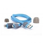 USB кабель передачи данных Zetton 2 в 1 разъем Apple Lightning 8 pin/Micro USB синий (ZTLSUSB2IN1BB) фото