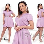 Платье женское из атласа жатка с золотым поясом в комплекте (4 цвета) - Лиловый VV/-1274 фото
