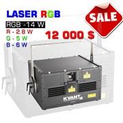 Мощный RGB - 14W лазерный проектор  фото