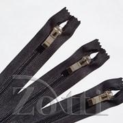 Молния пластиковая, черная, бегунок №72 - 35 см фото