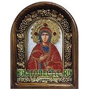 Золотошвейные мастерские, Дивеево Ева праматерь, святая праведная, дивеевская икона ручной работы из полудрагоценных камней и бисера Высота иконы 17 фото