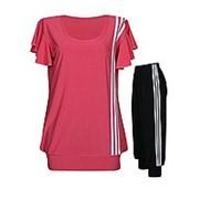 Футболка-туника + капри с тремя полосками - летний женский костюм фото