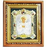 Икона аналойная средняяя с багетом, зеленая конгресс, Ангел Хранитель, цвет 22х25 фото