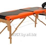 Складной 2-х секционный деревянный массажный стол BodyFit, черно-оранжевый фото