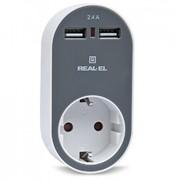 Сетевое зарядное устройство REAL-EL USB-устройств + розетка (CS-20) фото