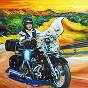 Портрет мотоциклиста и мотоцикла маслом на холсте фото