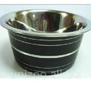 Миска для собак цветная н/ж c серебр. полосами 25 см. 2,6 л. фото