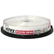 Оптический диск DVD плюс R 8.5 Гб Mirex 8-ск. двуслойный с полнозакрашенной поверхностью для струйной печати туба 10шт. фото