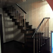 Перила для лестниц из нержавеющей стали с деревянным поручнем фото