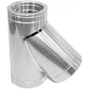 Тройник для дымохода нерж/оцинк Версия Люкс 45° D-100/160 толщ. 0,6 мм фото