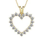 Кулон стильный сердце с бриллиантами VS1/F 0.50Сt фото