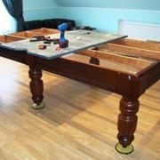 Ремонт и перетяжка бильярдных столов фото