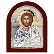 Икона Спаситель Серебряная с позолотой на деревянной основе Silver Axion 156 х 190 мм фото