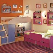 Детская комната Легенда 13 с полками венге светлый/лен голубой/розовый фото