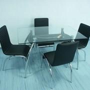 Стеклянные обеденные столы со стульями фото