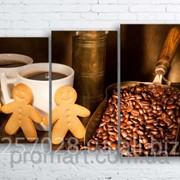 Модульна картина на полотні Кава. Зерна. Кавомолка код КМ100160-089 фото