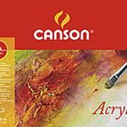 Блок бумаги для акрила Canson, 400г/м2, 50 листов,Фин, склейка по длинной стороне фото