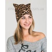 Леопардовая шапка с ушками Кошечка фото