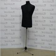 Манекен портной мужской, черный, подставка тренога хром, К-302-С-4 фото