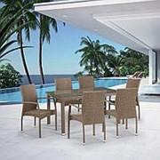 Комплект плетеной мебели T256B/Y379B-W56 Light Brown 6Pcs фото