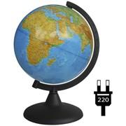 Глобус физический, 21 см, с подсветкой, на кругл. подст. (Глобусный мир) фото