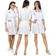 Белый медицинский халат из х/б фото